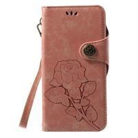 Roses PU kožené puzdro s pútkom na Huawei P10 Lite - ružové