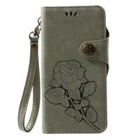 Roses PU kožené puzdro s pútkom na Huawei P10 Lite - cyan