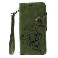 Roses PU kožené puzdro s pútkom na Huawei P10 Lite - zelené