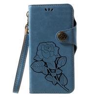 Roses PU kožené puzdro s pútkom na Huawei P10 Lite - modré