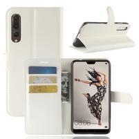 Wallet PU kožené puzdro na Huawei P20 Pro - biele