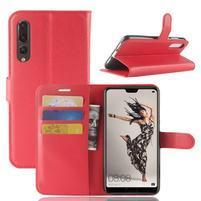 Wallet PU kožené puzdro na Huawei P20 Pro - červené