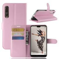 Wallet PU kožené puzdro na Huawei P20 Pro - ružové
