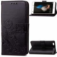 Floral PU kožené puzdro na Huawei P8 Lite - čierne