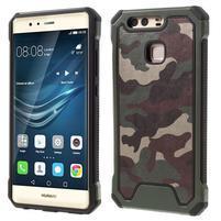 Odolný obal s PU koženými chrbtom na Huawei P9 - zelený
