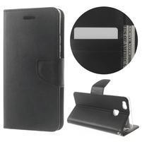 BravoDiary PU kožené puzdro na mobil Huawei P9 Lite - čierne