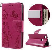 Motýlie PU kožené puzdro s pútkom na Huawei P9 Lite - rose