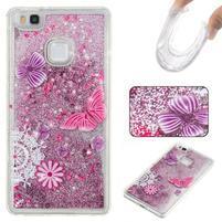Glitter presýpací gélový obal na mobil Huawei P9 Lite - motýliky