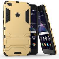 Defender odolný obal so stojančekom na mobil Huawei P9 Lite (2017) - zlatý