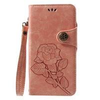 Roses PU kožené puzdro s pútkom na Huawei P9 Lite (2017) - ružové