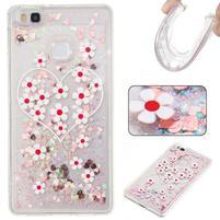 Glitter presýpací gélový obal na mobil Huawei P9 Lite - kvety a srdiečka