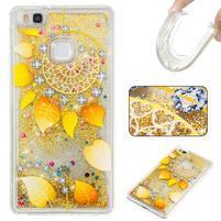 Glitter presýpací gélový obal na mobil Huawei P9 Lite - zlatý veniec