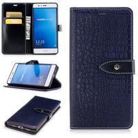CrocoStyle PU kožené zapínacie puzdro na Huawei P9 Lite - modré
