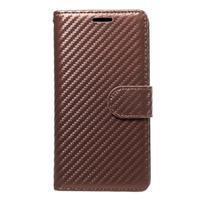 Carbon PU kožené puzdro na Huawei P9 Lite - hnedé