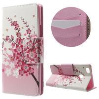 Patty peňaženkové zapínacie puzdro na Huawei P9 Lite - kvitnúca vetvička
