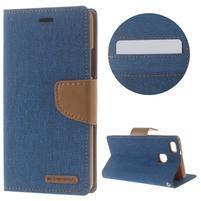 Canvas PU kožené/textilné puzdro na Huawei P9 Lite - modré