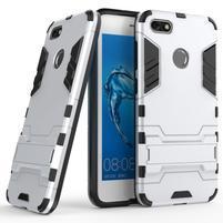 Defender odolný obal so stojančekom na Huawei P9 Lite mini - strieborný