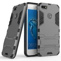 Defender odolný obal so stojančekom na Huawei P9 Lite mini - sivý