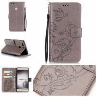 Motýlikové knižkové puzdro na mobil Huawei P9 Plus - sivé