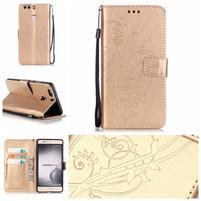Motýlikové knižkové puzdro na mobil Huawei P9 Plus - zlaté