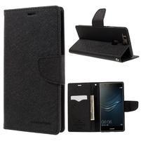 Diary PU kožené puzdro na Huawei P9 Plus - čierne