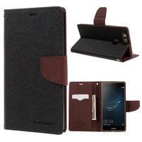 Diary PU kožené puzdro na Huawei P9 Plus - čierne/hnedé