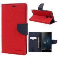 Diary PU kožené puzdro na Huawei P9 Plus - červené