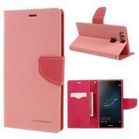 Diary PU kožené puzdro na Huawei P9 Plus - ružové