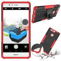 Outdoor odolný obal so stojančekom na Huawei P9 Plus - červený