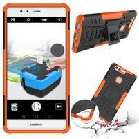 Outdoor odolný obal so stojančekom na Huawei P9 Plus - oranžový