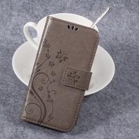 Butterfly PU kožené knižkové puzdro na Huawei Y3 II - sivé