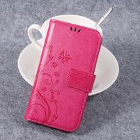 Butterfly PU kožené knižkové puzdro na Huawei Y3 II - rose