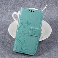 Butterfly PU kožené knižkové puzdro na Huawei Y3 II - cyan