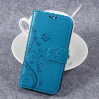 Butterfly PU kožené knižkové puzdro na Huawei Y3 II - modré