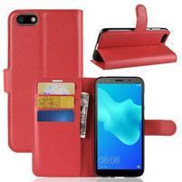 Litch PU kožené peňaženkové puzdro na Huawei Y5 (2018) - červené