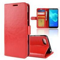 Crazy PU kožené peňaženkové puzdro na Huawei Y5 (2018) - červené