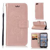 Dream PU kožené peňaženkové puzdro na mobil Huawei Y5 (2018) - ružovozlaté