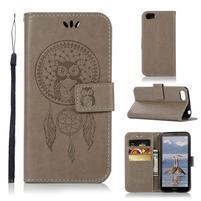 Dream PU kožené peňaženkové puzdro na mobil Huawei Y5 (2018) - sivé