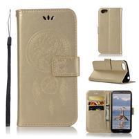 Dream PU kožené peňaženkové puzdro na mobil Huawei Y5 (2018) - zlaté