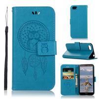 Dream PU kožené peňaženkové puzdro na mobil Huawei Y5 (2018) - modré