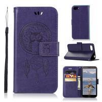 Dream PU kožené peňaženkové puzdro na mobil Huawei Y5 (2018) - fialové