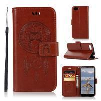 Dream PU kožené peňaženkové puzdro na mobil Huawei Y5 (2018) - hnedé