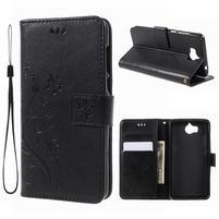 Butterfly PU kožené peňaženkové puzdro na Huawei Y6 (2017) - čierne