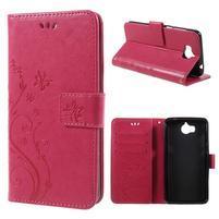 Butterfly PU kožené peňaženkové puzdro na Huawei Y6 (2017) - rose