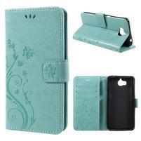 Butterfly PU kožené peňaženkové puzdro na Huawei Y5 (2017) a Huawei Y6 (2017) - zelenomodré