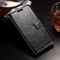 Standy PU kožené puzdro na Huawei Y6 II Compact - čierne
