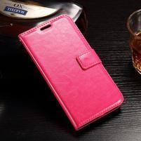 Standy PU kožené puzdro na Huawei Y6 II Compact - rose