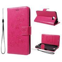 Butterly PU kožené puzdro na mobil Huawei Y7 - rose