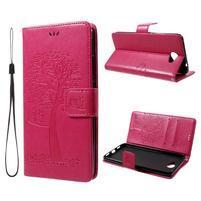 Tree PU kožené puzdro s poutkem na Huawei Y7 - rose