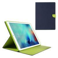 Diary PU kožené puzdro na iPad Pro 12.9 - tmavomodré